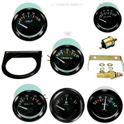 2'' 52Mm Pointer Led Car Water Oil Temp Pressure Volt Ammeter Amps Meter Gauge