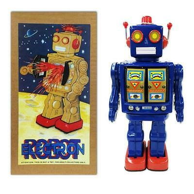 """TIN TOY ELECTRON ROBOT 12"""" Blue Battery Operated NIB Outer Space Age Retro ME100"""