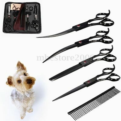 "7"" Pro Pet Scissors Dog Cat Cutting/Curved/Thinning Kit w/ Comb Grooming Set"