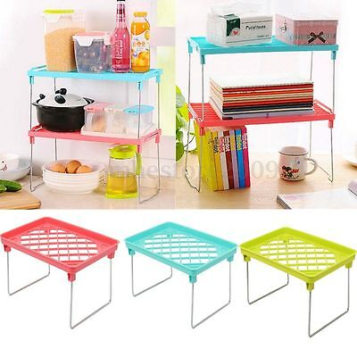 Stackable Kitchen Home Folding Storage Rack Shelf Bathroom Organiser Holder Rack