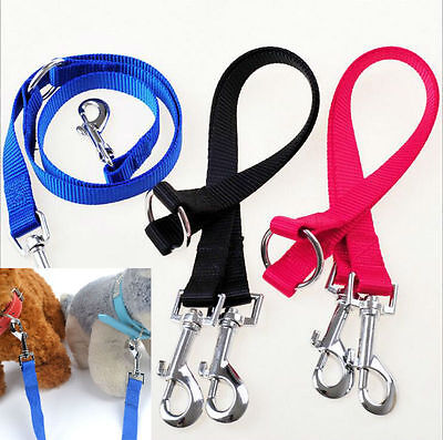 Nylon Double Dual Two Pets Puppy Dog Leash 1 Lead 2 Way Coupler Walk Necklace