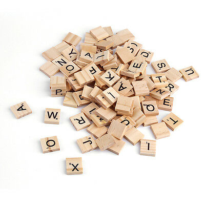 100 Wooden Alphabet Scrabble Tiles Black Letters & Numbers For Crafts Wood ~#
