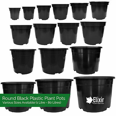 Strong Black Plastic Plant/Flower Pot in Various Sizes
