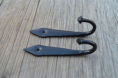 Pair 4.5 Inch Black Iron Ancient English Design Coat Hook Door Hanger Hook Ob4