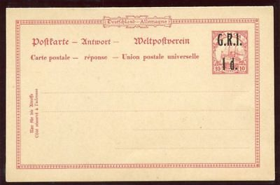 Samoa 1916 1d + 1d black on 10pf + 10pf stationery Post & Reply Card. H&G I4.