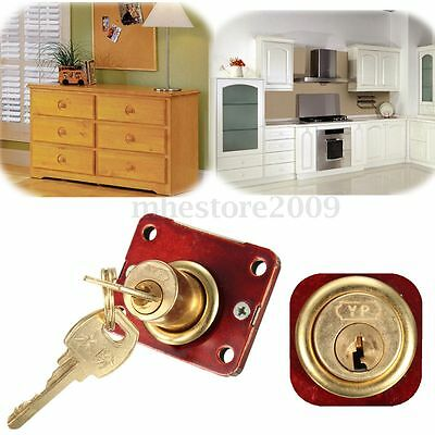 Desk Drawer Dead Bolt Lock For Drawers Box Cabinet Cupboards Panel w/Two Keys