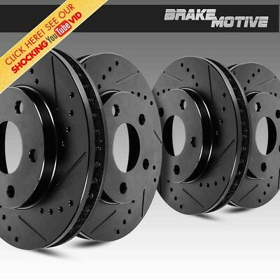 FRONT & REAR BLACK DRILLED And SLOTTED BRAKE ROTORS Kit 4WD 2WD Chevy GMC