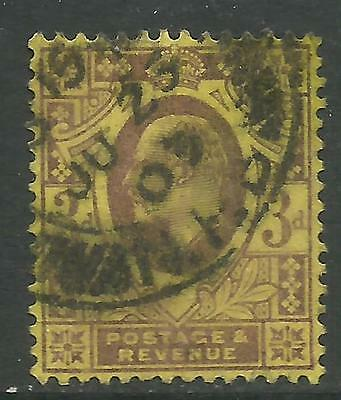 GREAT BRITAIN KING EDWARD VII KEVII 3d YELLOW Used (No 1)