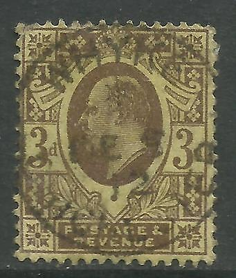 GREAT BRITAIN KING EDWARD VII KEVII 3d YELLOW Used (No 2)