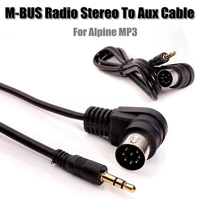 RADIO STEREO 8 PIN M-BUS DIN CABLE CORD TO 3.5MM MINI JACK AUX IN MP3 For Alpine