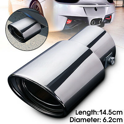 "Universal 2.5"" Inlet Oval Car Exhaust Pipe Muffler Tip Stainless Steel Chrome"