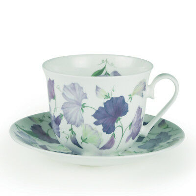 Roy Kirkham Sweet Pea Large 450ml Breakfast Cup & Saucer Lilac Purple Bone China