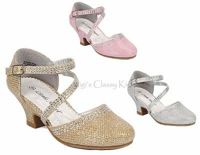 New Girls Dress Shoes Silver Gold Champagne Pink Glitter Pageant Heels Kids