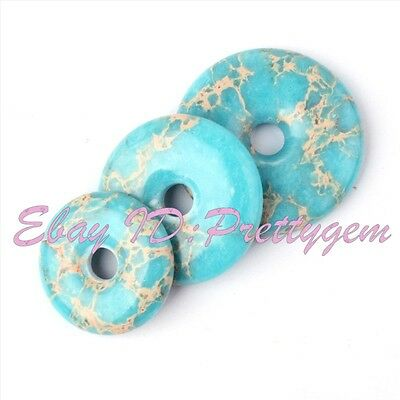 Donut Round Blue Imperial Jasper Gemstone Pendant Beads For Jewelry Making 1 Pcs