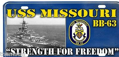 SignMission Proudly Served On USS MISSOURI BB 63 Plastic License Plate Frame