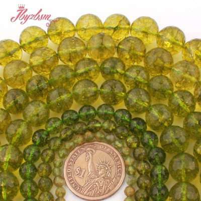 4-12mm Faceted Round Green Peridot Gemstone For Jewelry Making Spacer Beads 15""
