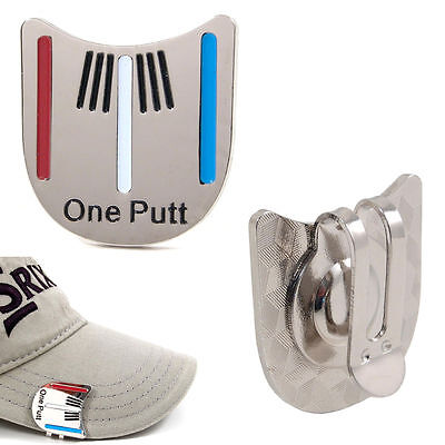 One Putt Golf Alignment Aiming Tool Ball Marker Magnetic Visor Hat Clip Alloy #P