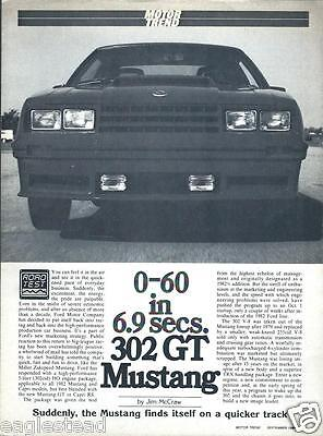 Auto Brochure - Ford - Mustang GT 302 HO - Motor Trend reprint 9/81 (AB756)
