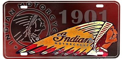 Indian Motorcycle 1901  Car License Plate Made In Usa