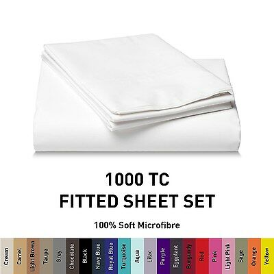 1000TC Microfiber Fitted Sheet Set [NO FLAT] Single/Double/Queen/King/Super b