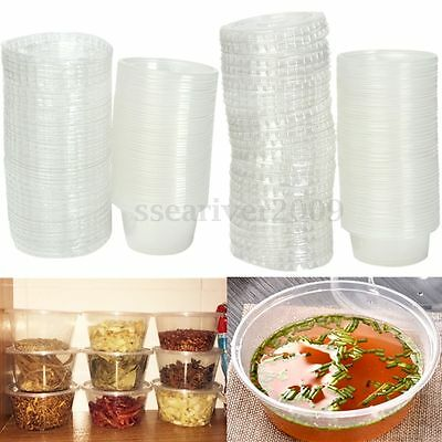 50Pcs Disposable Clear Plastic Chutney Cups Food Container Storage Box With Lids