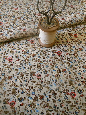 Antique 19thc Small Scale Vermicular Floral Cotton Challis Fabric ~ dolls quilts