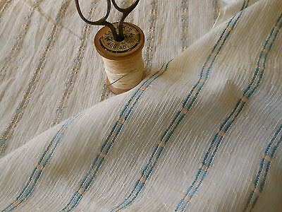 Antique 19thc Blue Ecru Stripe Woven Cotton Gauze Fabric ~ dolls quilts clothing