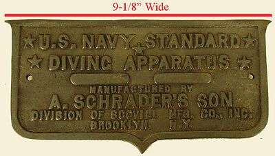 A. Schrader Son Diving Helmet Air Pump Brass Equipment Diving Apparatus Plate!