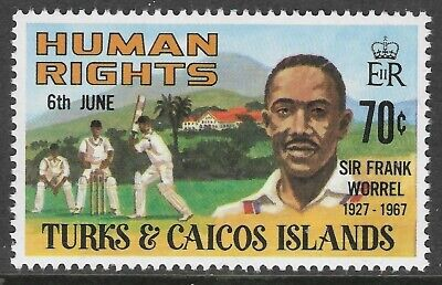 TURKS & CAICOS 1980 SIR FRANK WORREL1v CRICKET MNH