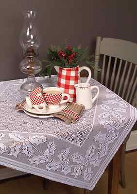 "Heritage Lace WHITE  58""x58""  HOLLY VINE Christmas Table Topper Holly, Berries"