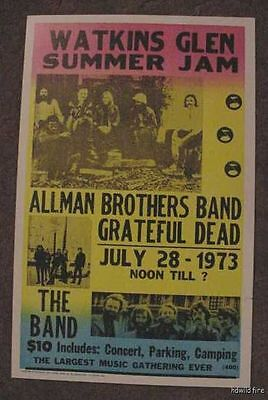 THE ALLMAN BROTHERS BAND GRATEFUL DEAD 70's POSTER art 1973 Gregg JERRY GARCIA