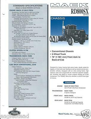 Truck Brochure - Mack - RD800SX series - Chassis - 1998 (T1339)