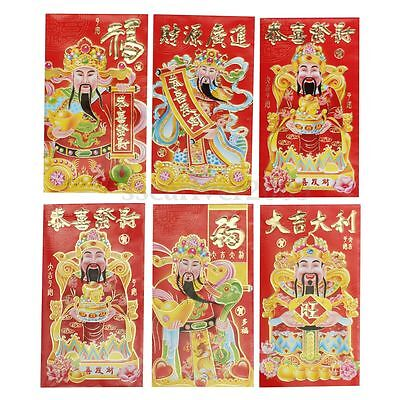 6Pcs 2016 Wealth Chinatown Chinese New Year Red Envelope Lucky Money Pocket Bags