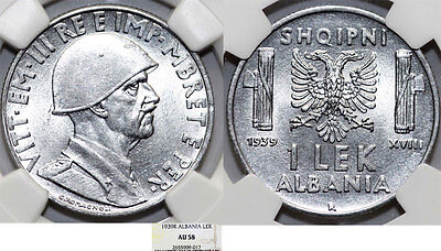 Albania. Italian Occupation of WWII, Vittorio E. III. 1 Lek 1939-R. NGC AU58