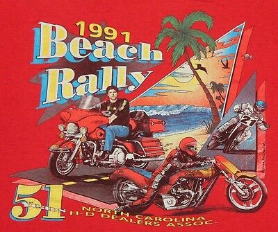 S * vtg 90s 1991 HARLEY DAVIDSON North Carolina Beach Rally t shirt * 70.102