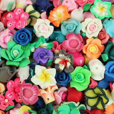 50pcs Assorted Mixed Polymer Fimo Clay Flower Loose Spacer beads 8mm-15mm SL96
