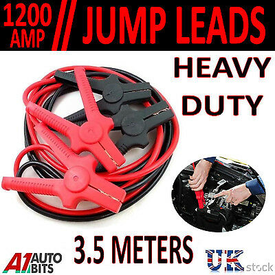 1200 AMP 3.5 Meter Heavy Duty Jump Leads Booster Cable Car Van Battery 12V 24V