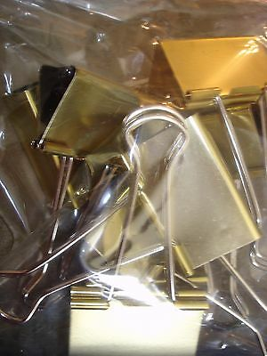 Gold Binder Clips Large  2 Inches  Qty 8