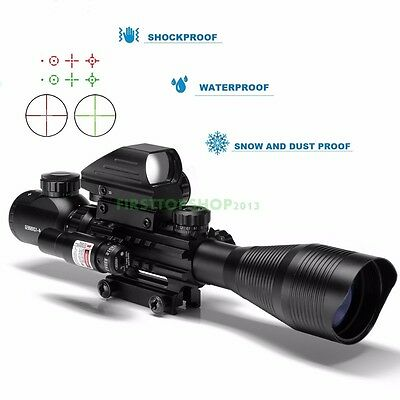 4-12X50 EG Tactical Rifle Scope w/ Holographic 4 Reticle Sight & Red Laser JG8