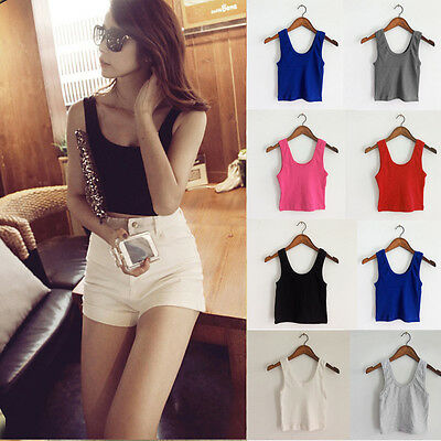 Sexy Women's Casual Sexy Sleeveless Vest Tank Tops Crop Top T Shirt Blouse Cami
