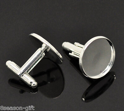 25 Pairs Silver Plated Cabochon Setting Cuff Links 26x20mm(Fit 18mm)