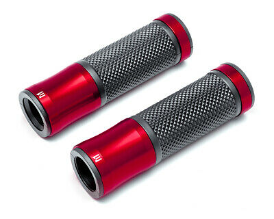 "Red Black Aluminium Rubber Motorbike Motorcycle Quad Hand Grips 22mm 7/8"" Bars"