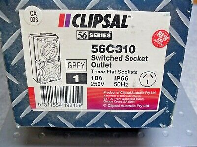 CLIPSAL  56C310 Switched Socket Outlet, 500V, 10A, 3 Pin USA Seller