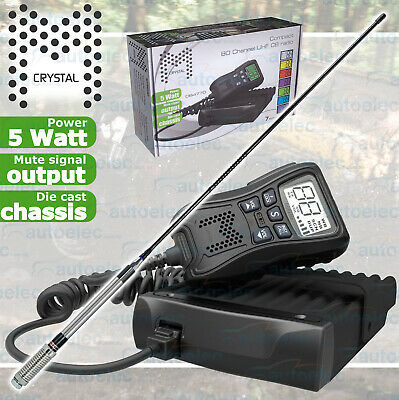 Crystal 5 Watt Db477D Uhf Cb Radio 2Way Mobile Remote Display Mic + Gme Antenna