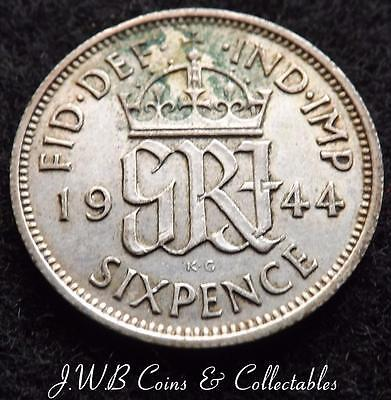 1944 George VI .500 Silver Sixpence 6d Coin.