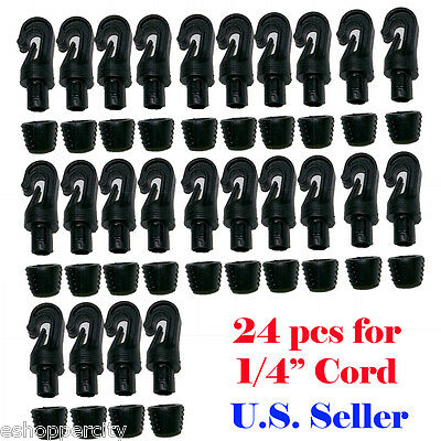 "24X 1/4"" Hooks for 1/4"" Bungee Shock Cord End Tabbed Kayyak Boots Reuseable"