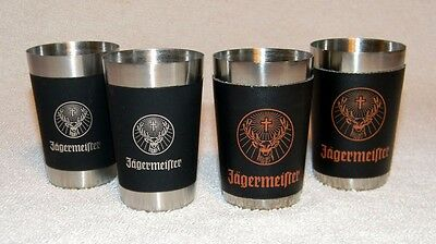 4 New Jagermeister Shot Glasses Stainless Steel & Black Wrap Stag Logo
