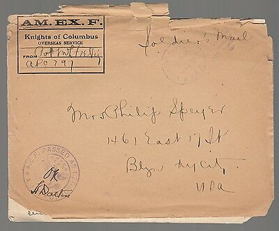 [57694] 1918 World War I Letter Knights Of Columbus Envelope From Pvt. Fielding
