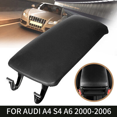 Black Leather Armrest Center Cover Console Lid For AUDI A4 S4 A6 Allroad 00-06