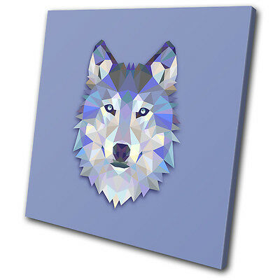 Geometric Abstract Wolf Animals SINGLE CANVAS WALL ART Picture Print